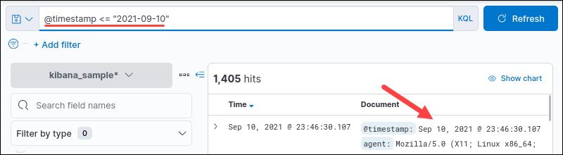 KQL timestamp range query output