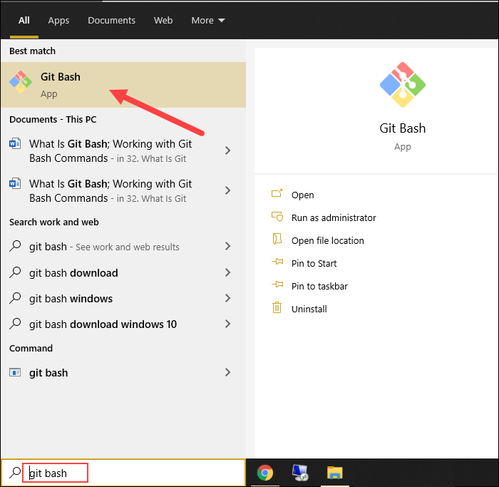 How to launch Git Bash on Windows.