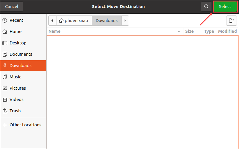 navigate to destination and click Select to move directory
