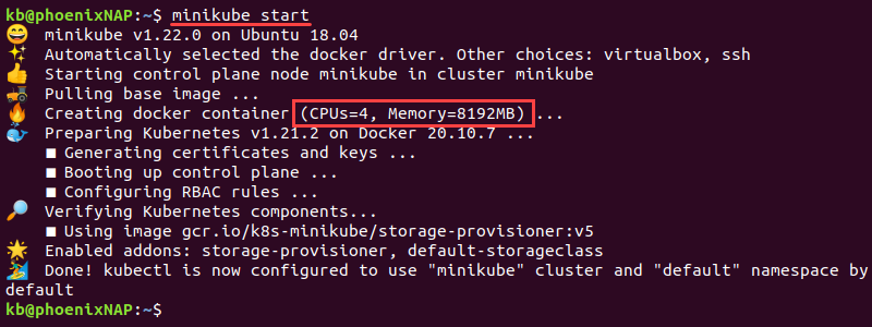 minikube start output with 4 cpus and 8192MB memory