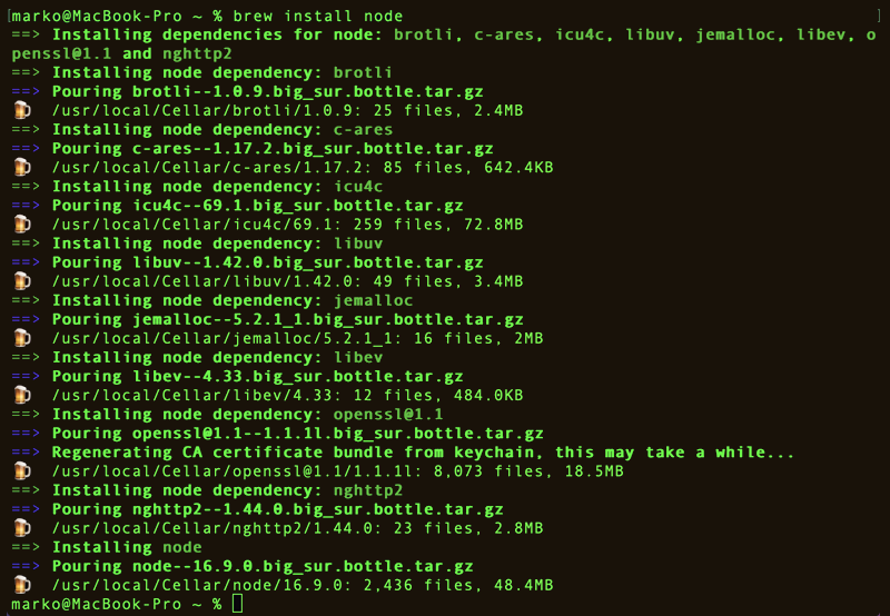 Installing Node.js and NPM on MacOS using Homebrew