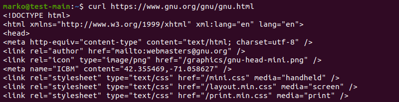 HTML contents found on the URL provided after the curl command