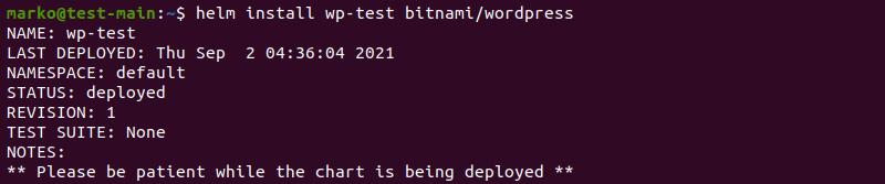Installing the bitnami WordPress helm chart