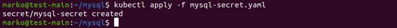 Applying the Kubernetes secret for MySQL deployment with kubectl