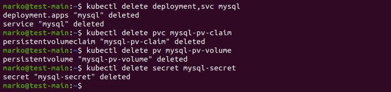 Deleting MySQL instance with kubectl delete