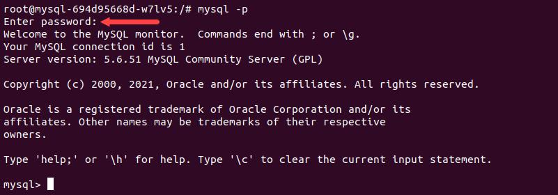 Logging into the MySQL shell