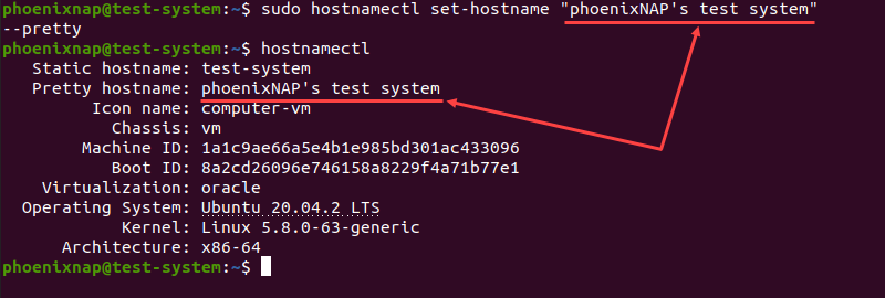 Setting up a new pretty hostname using the hostnamectl command