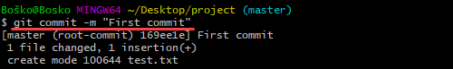 Creating a commit on Git.