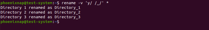 Translating directory names using the rename command