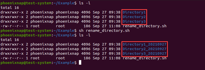 Using the ls command to verify the name change