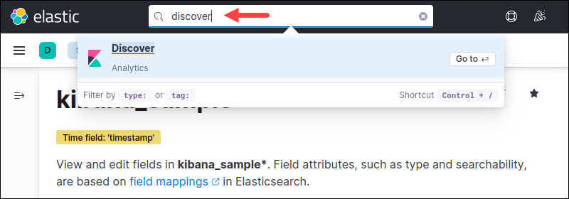 Search results for discover in Kibana
