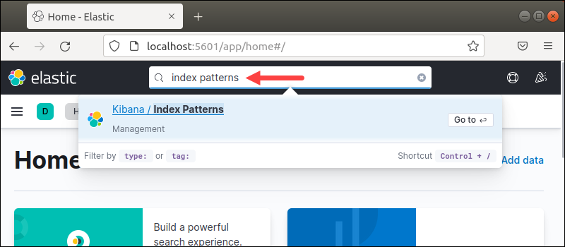 Search result for index patterns in Kibana