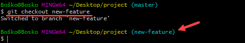 Switching to a different branch in Git.