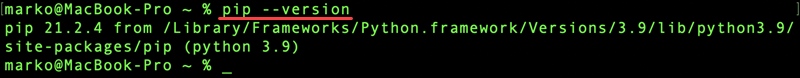 Verify your pip installation on macOS.