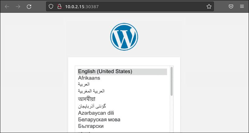 The installation windows of WordPress