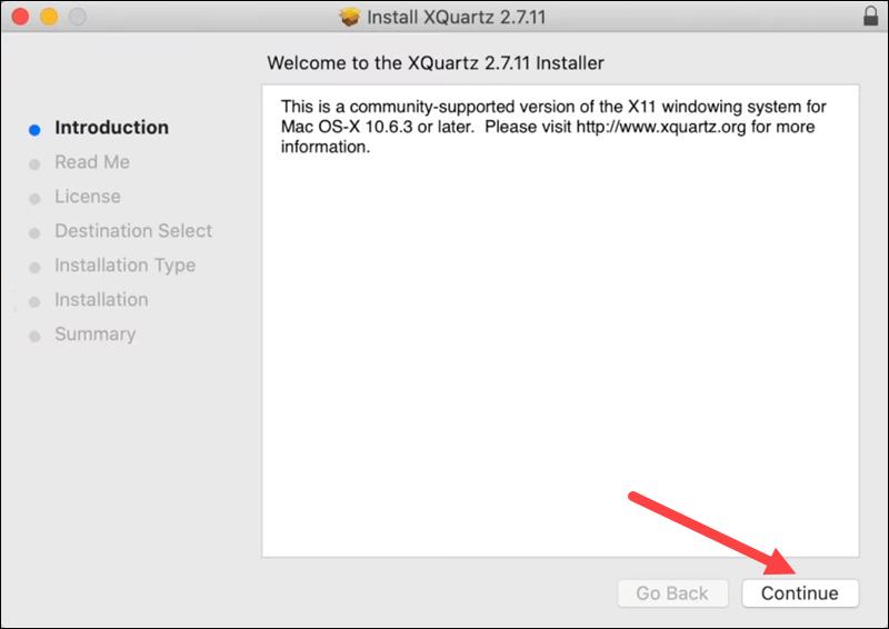 XQuartz installation - step 1.