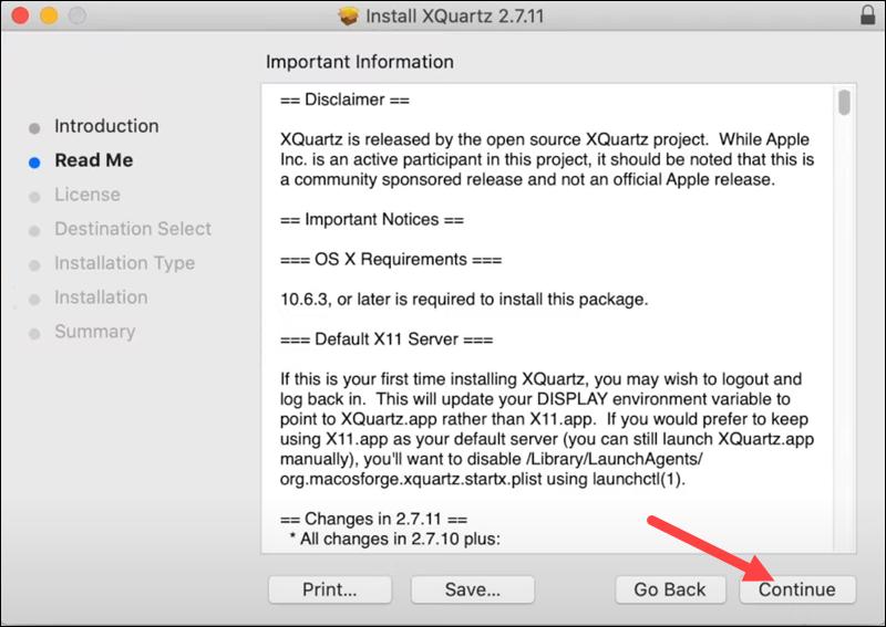 XQuartz installation - step 2.