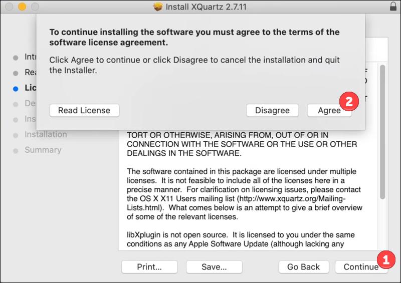 XQuartz installation - step 3.