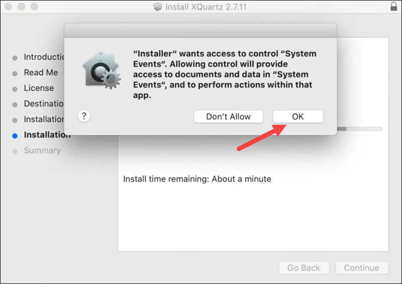 XQuartz installation - step 5.