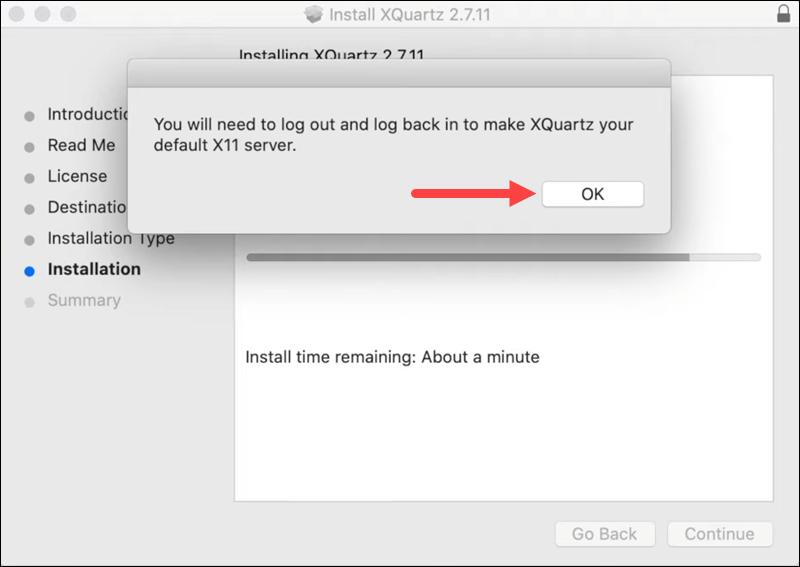 XQuartz installation - step 6.