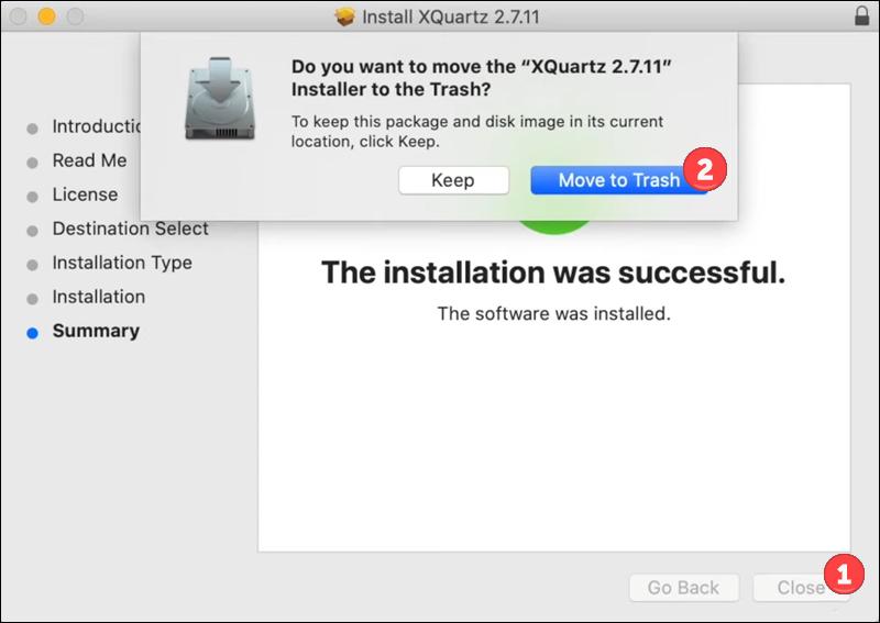 XQuartz installation - step 7.