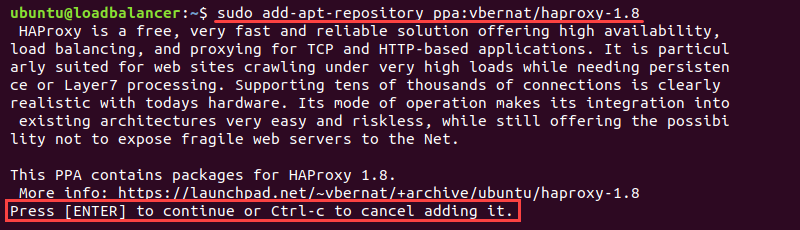 Terminal output of adding HAProxy repository
