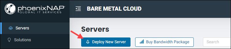 Deploy new server button location on BMC portal