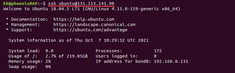 Terminal output of connecting to BMC via SSH
