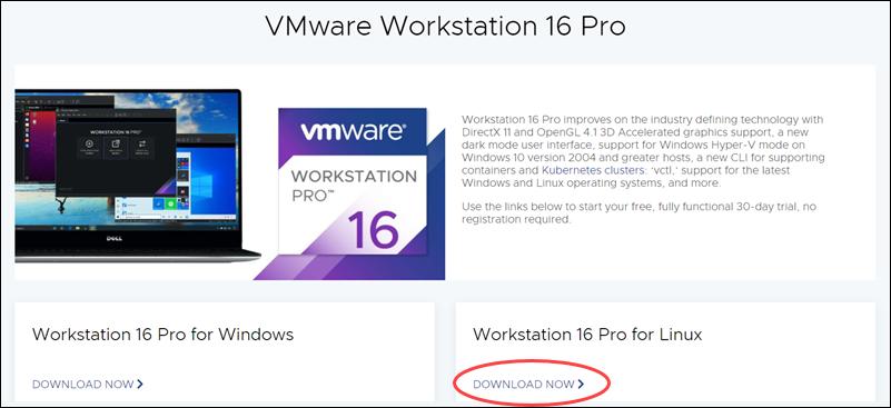 Download VMware Workstation 16 Pro for Ubuntu Linux.