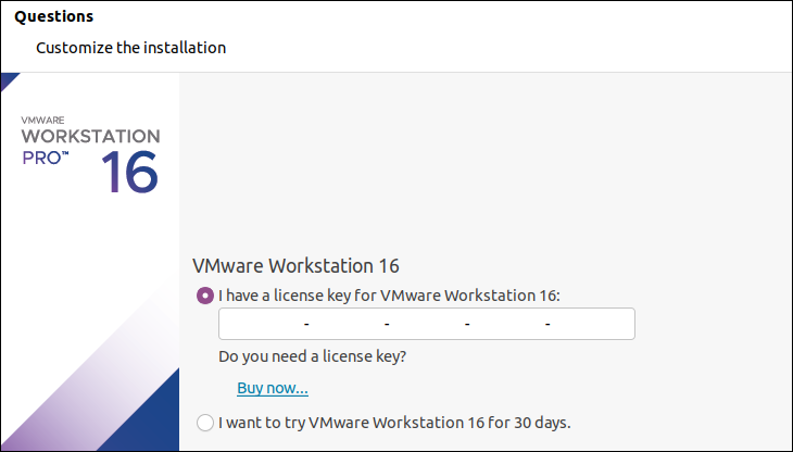 Finish installing VMware Workstation Pro on Ubuntu.