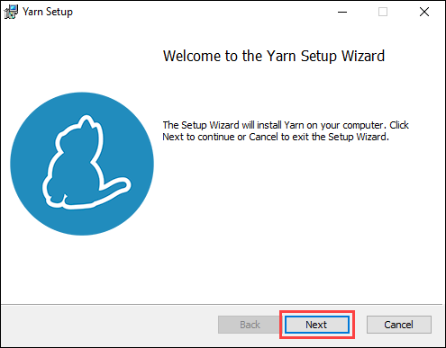 Start the Yarn installation using the MSI installer