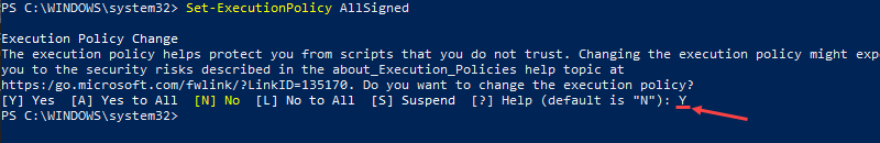 Set the execution policy to AllSigned