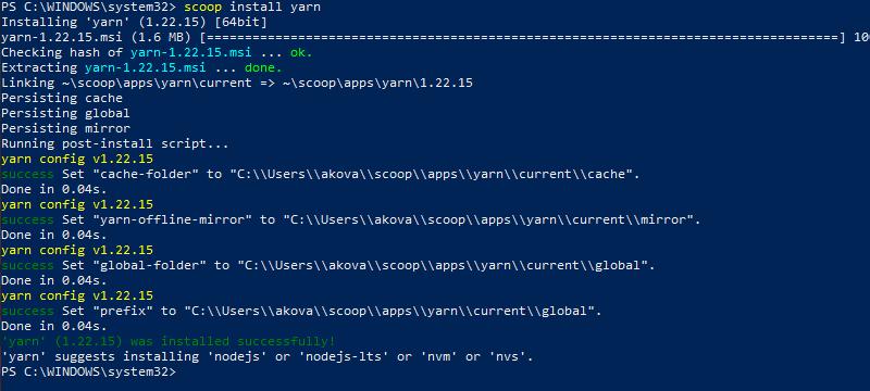 Install Yarn using Scoop CLI