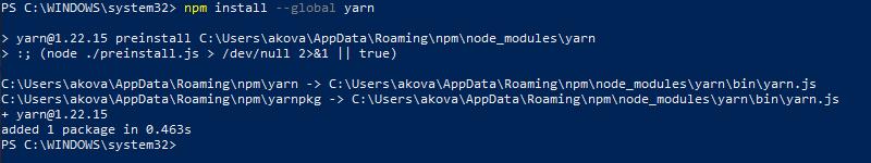 Install Yarn using NPM