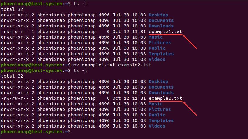 Renaming a single file using the mv command