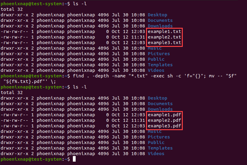 Renaming multiple files using the find and mv commands