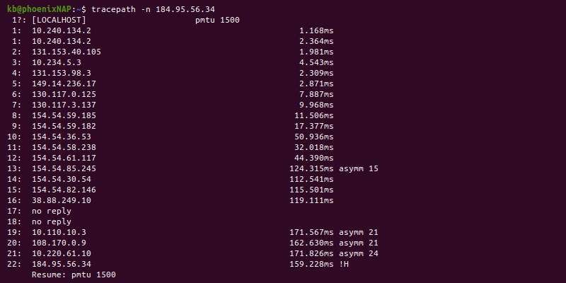 Tracepath -n command terminal output